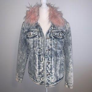 Juicy Couture Faux Fur Collar Denim Jacket